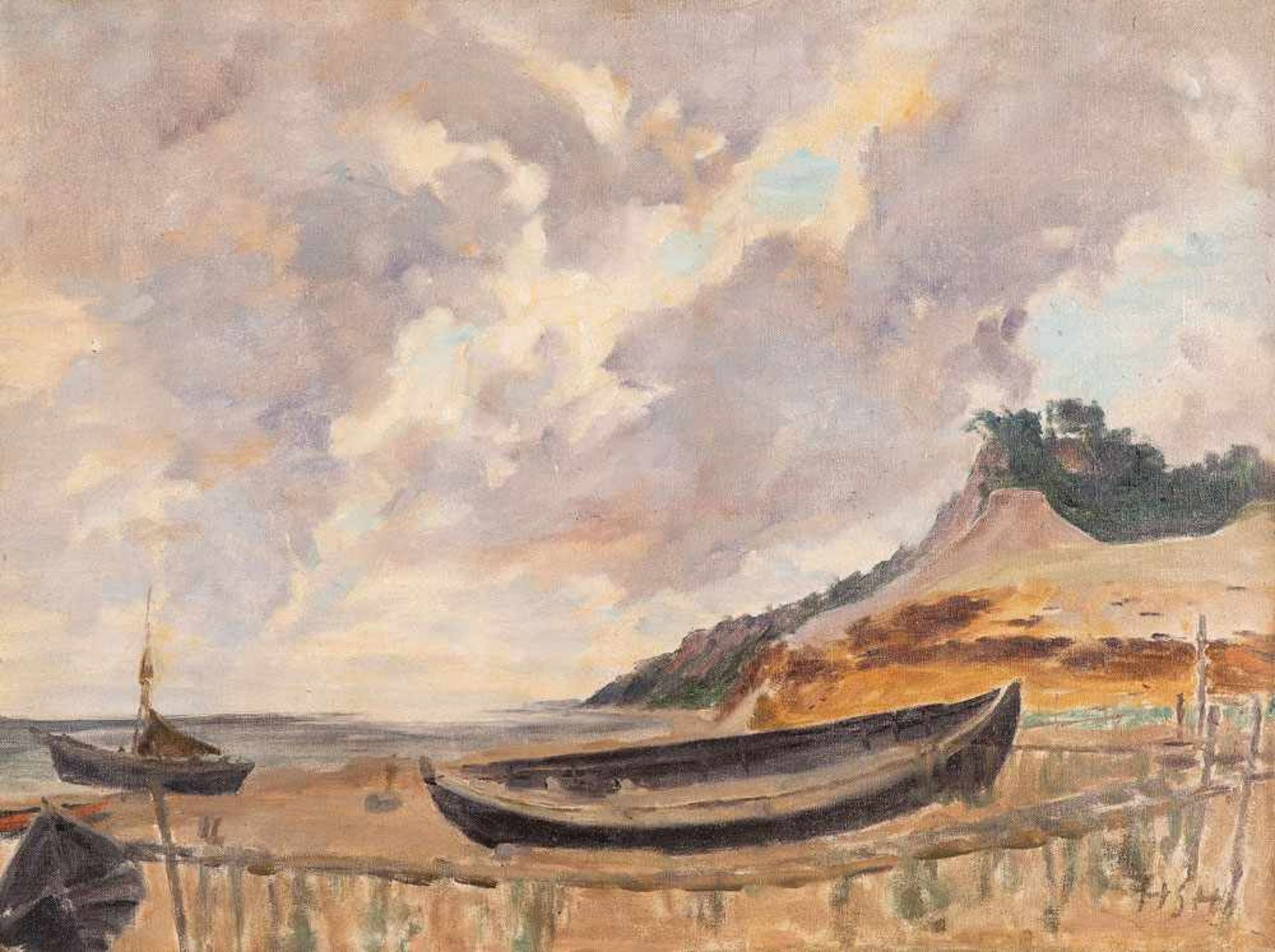 Hedwig Holtz-Sommer (1901 Berlin - 1970 Wustrow)Fischerboote an der Steilküste.Öl auf Leinwand auf