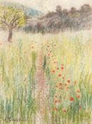 Anna Gerresheim (1852 Ribnitz - 1921 Ahrenshoop)Blühende Sommerwiese, o. J. Pastellkreide. 370 x