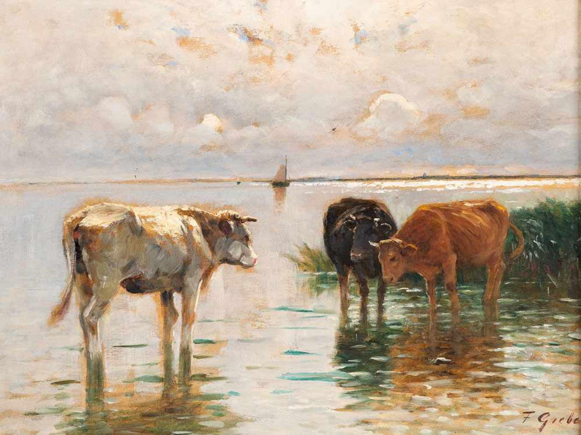 Fritz Grebe (1850 Heisebeck - 1924 Düsseldorf)Kühe am Bodden.Öl auf Papier auf Leinwand kaschiert.
