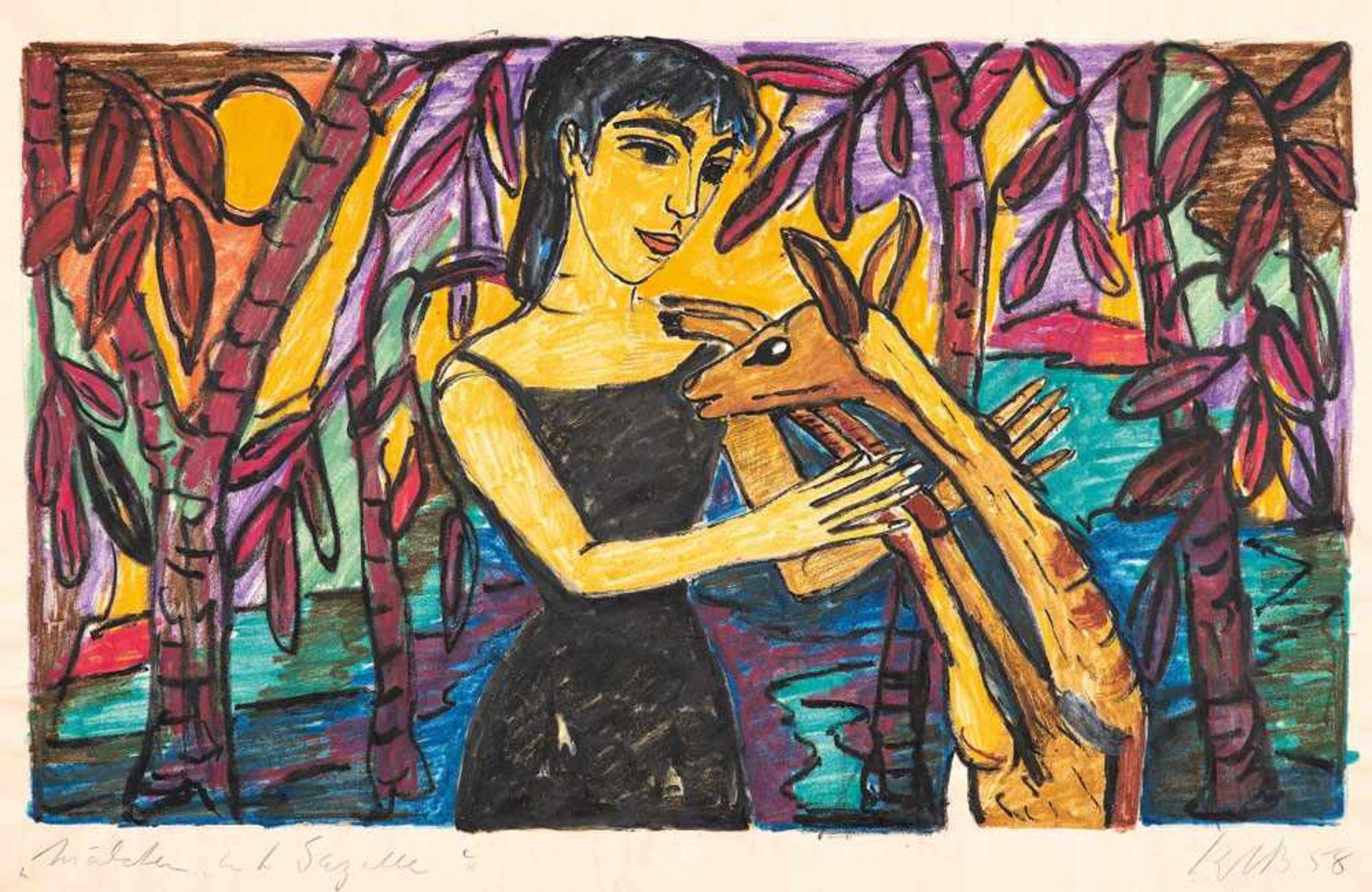 Kate Diehn-Bitt (1900 Berlin - 1978 Rostock)Mädchen mit Gazelle.Aquarellstift. 1958. 325 x 540 mm (
