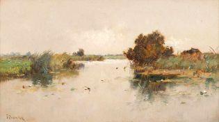 Franz Bunke (1857 Schwaan - 1939 Oberweimar) An der Warnow, um 1910. Öl auf Leinwand. 250 x 450 mm.
