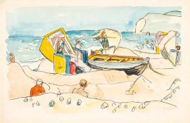 Ivo Hauptmann (1886 Erkner - 1973 Hamburg)Am Strand von Hiddensee.Aquarell. 1936. 325 x 500 mm. U.