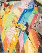 Martel Schwichtenberg (1896 Hannover - 1945 Sulzburg)Zwei Figurinen.Mischtechnik. Vor 1920. 500 x