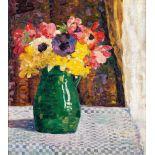 Elisabeth Büchsel (1867 - Stralsund - 1957)Strauß mit Frühlingsblumen.Öl auf Malplatte. Um 1904.