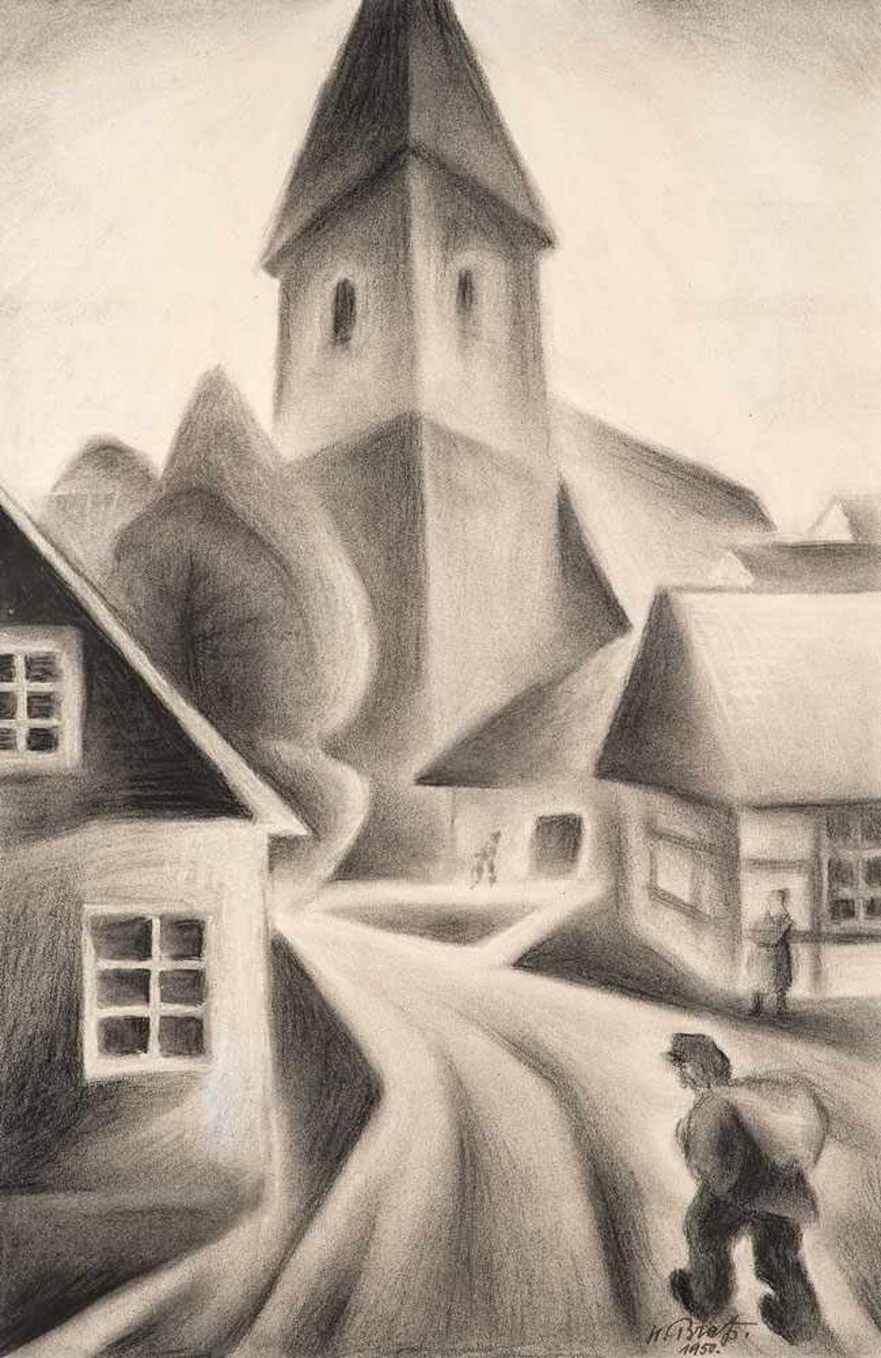 Hans Brass (1885 Wesel - 1959 Berlin)Schlesisches Dorf. Schwarze Kreide, teilweise gewischt. 1950.