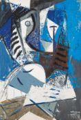 Hans Kinder (1900 - Dresden - 1986)Unter blauen Segeln.Mischtechnik auf Papier auf Karton