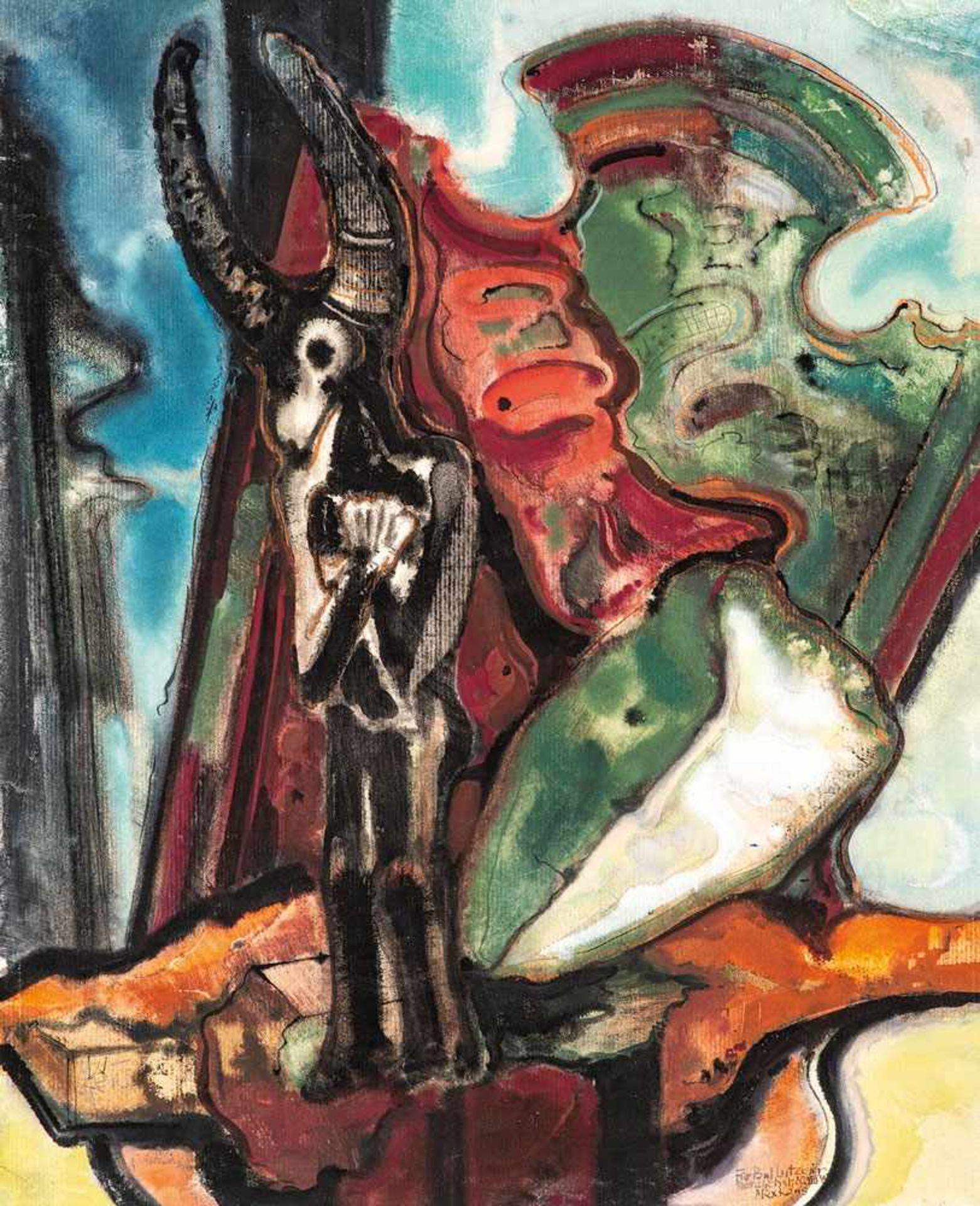 Max Kaus (1891 - Berlin - 1977)Stuhl mit Maske und Wächterfigur.Mischtechnik. 1948. 680 x 550 mm.