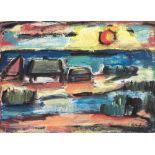 Karl Eulenstein (1892 Memel - 1981 Berlin)Häuser auf der Nehrung.Öl auf Hartfaser. o. J. 500 x 700