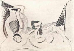 Hans Kinder (1900 - Dresden - 1986)Stillleben II.Mischtechnik. 1940er Jahre. 410 x 586 mm. Verso