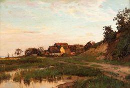 Walter Moras (1856 - Berlin - 1925)Dorf auf Rügen.Öl auf Malplatte.1893. 290 x 435 mm. U. r.