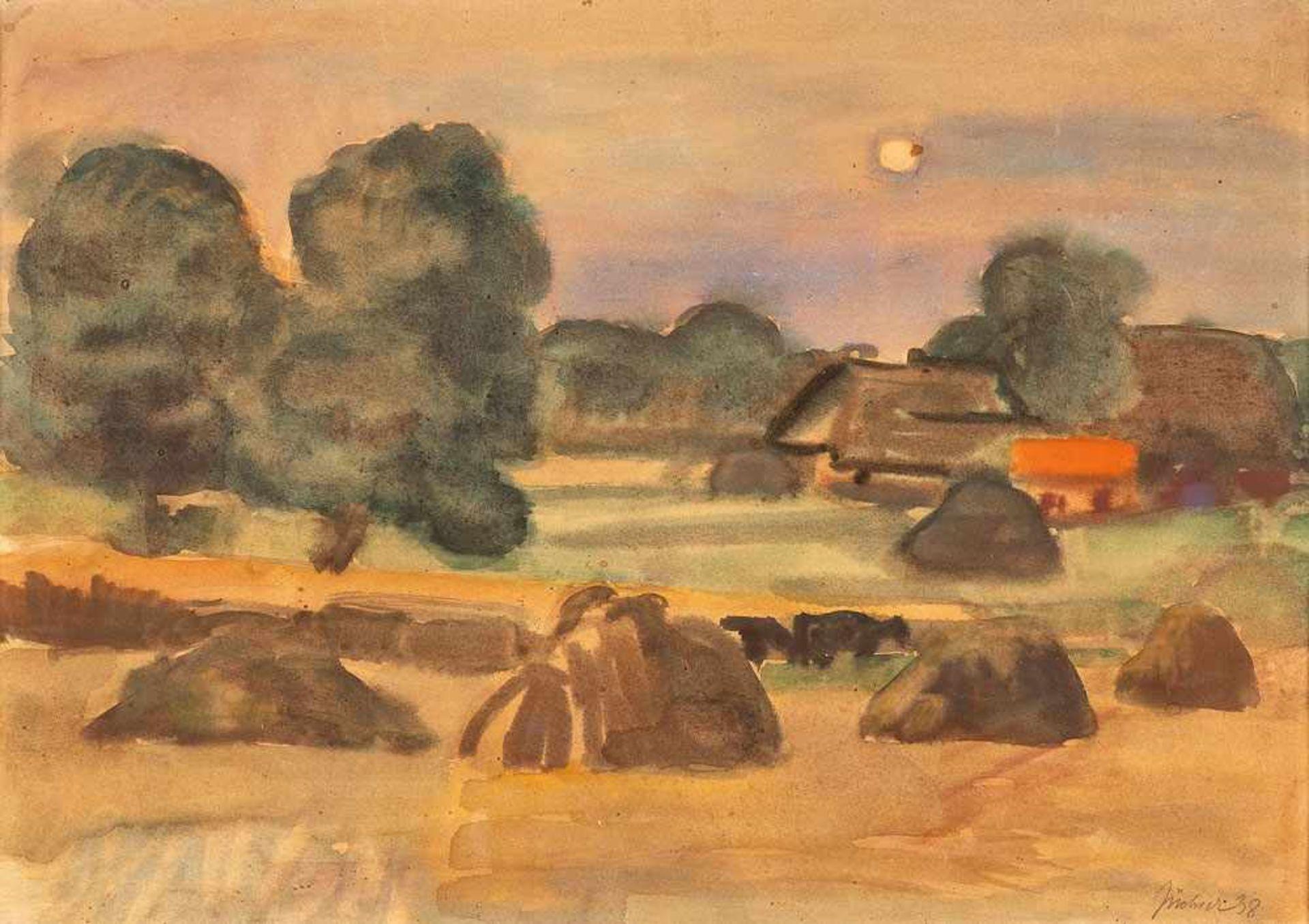 Hans Jüchser (1894 Chemnitz - 1977 Dresden)Pommerscher Hof im Spätsommer.Aquarell. 1938. 355 x 500