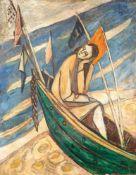 Ulrich Knispel (1911 Altschaumburg - 1978 Reutlingen) Träumendes Mädchen im Boot. Öl auf Karton.