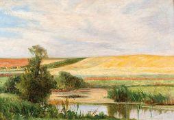 Franz Bunke (1857 Schwaan - 1939 Oberweimar) Sommernachmittag, o. J. Öl auf Holz. 330 x 485 mm. U.