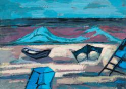 Manfred Zoller (1947 Zeitz, lebt in Bergfelde b.Berlin)Abend am Strand.Gouache. 1985. 495 x 690 mm.
