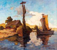 Carl Knauf (1893 Godesberg - 1944 Nidden)Anlandende Kurenkähne.Öl auf Rupfen. Um 1930. 670 x 750