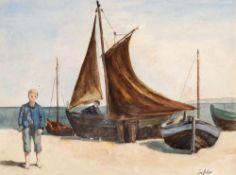 August Wilhelm Dressler (1886 Bergesgrün/Böhmen - 1970 Berlin)Fischerjunge, o. J.Aquarell. 262 x