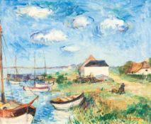 Max Schwimmer (1895 - Leipzig - 1960)Hafen.Öl auf Leinwand. 1937. 460 x 550 mm. U. r. signiert,