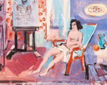 Max Schwimmer (1895 - Leipzig - 1960)Atelierpause.Gouache. 1940er Jahre. 405 x 545 mm. U. r.