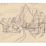 Lyonel Feininger (1871 - New York - 1956) Dorfstraße auf Usedom (Neppermin, Schulstraße).