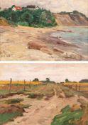 Berthold Genzmer (1858 Boggusch - 1927 Berlin) Zwei Landschaften. 1. Blick vom Zipfelberg auf den
