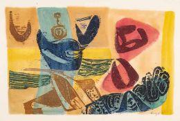 Ulrich Knispel (1911 Altschaumburg - 1978 Reutlingen) Strandgut. Monotypie. 1953. 405 x 625 mm. U.