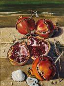 Walter Womacka (1925 Obergeorgenthal, Tschechien - 2010 Berlin)Strandstillleben.Öl auf Hartfaser.