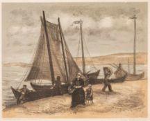 Alfred Teichmann (1903 Gersdorf - 1980 Dresden)Fischerboote in Nidden.Farblithographie. 1934. 400 x