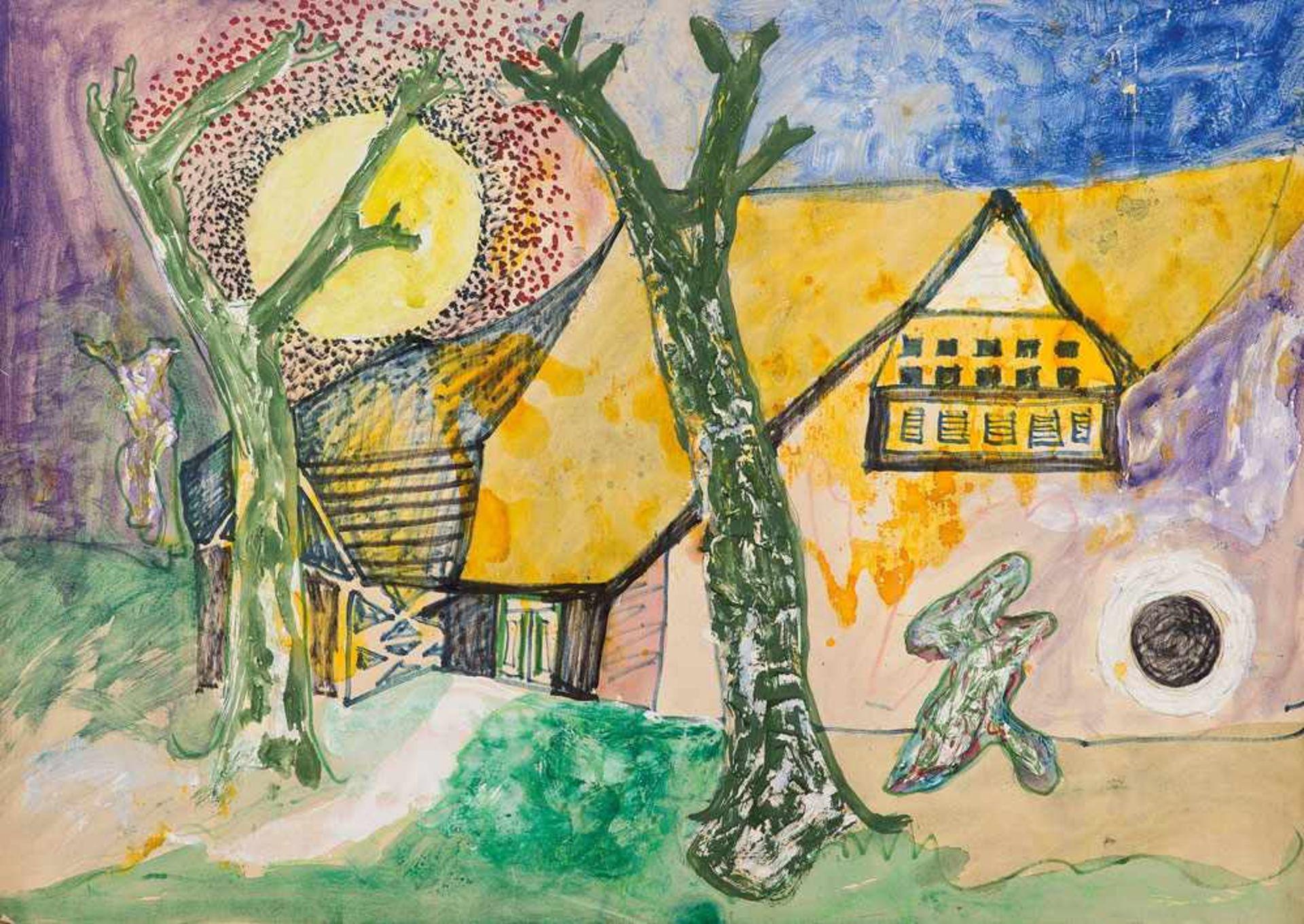 Edmund Kesting (1892 Dresden - 1970 Birkenwerder b. Berlin)Nächtliches Zwielicht.Mischtechnik.