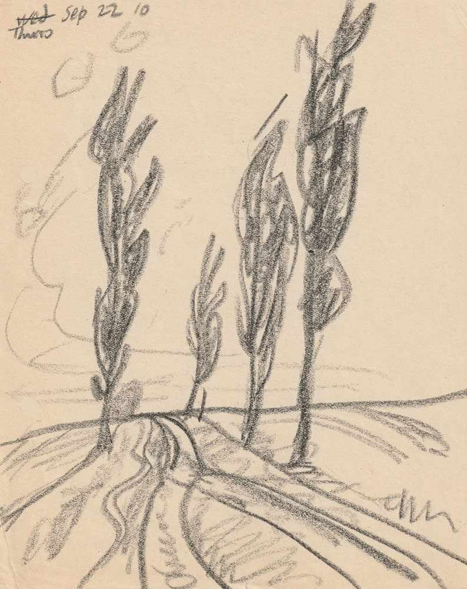 Lyonel Feininger (1871 - New York - 1956) Landstraße mit Bäumen, Neppermin. Bleisiftzeichnung.