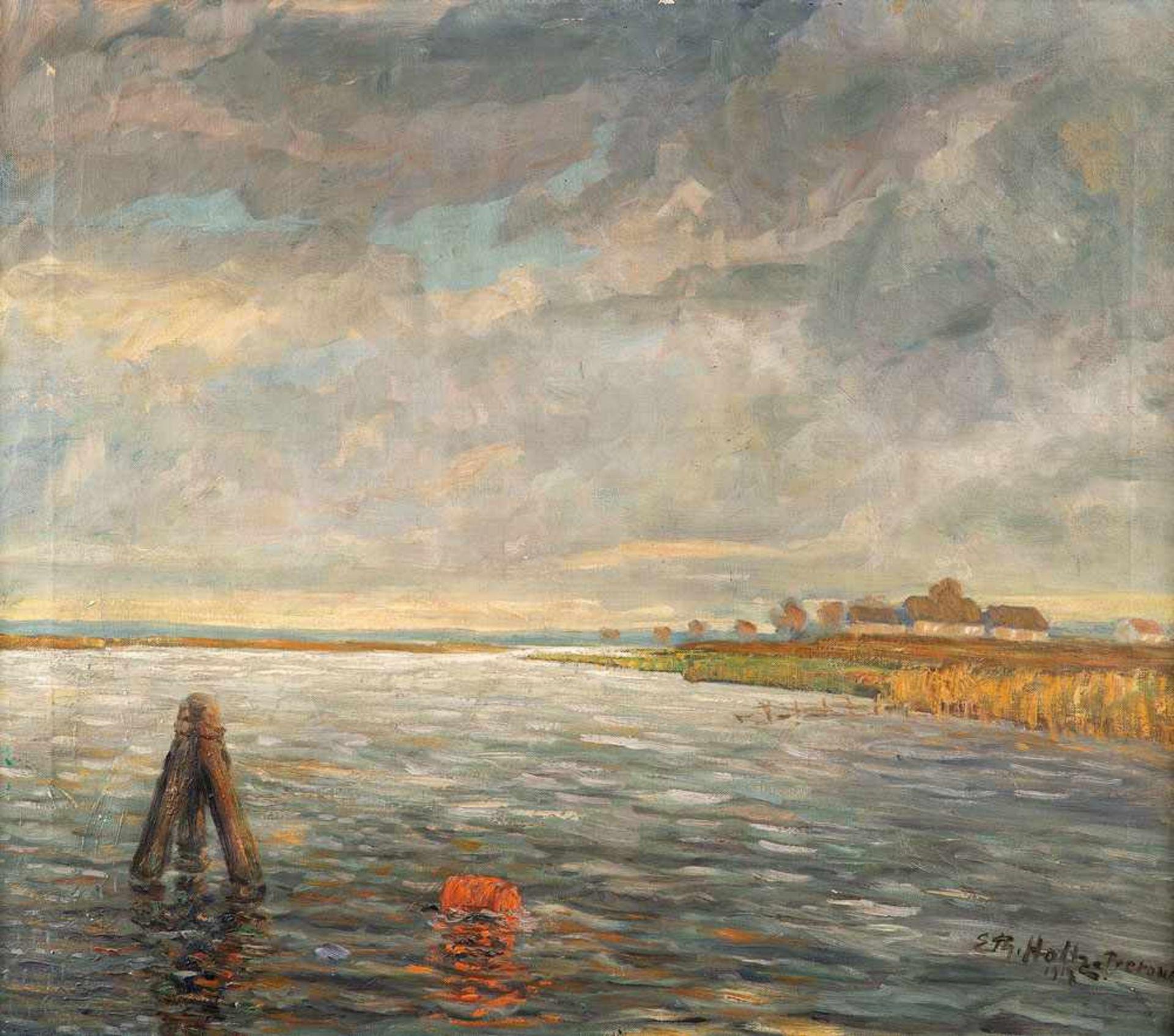 Erich Theodor Holtz (1885 Storkow - 1956 Wustrow)Am Prerowstrom (Prerow/Krabbenort).Öl auf
