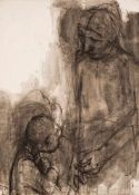 Hans Theo Richter (1902 Rochlitz - 1969 Dresden)Stehende Mutter und Kind.Tuschpinsel in