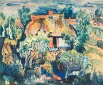 Paul Kuhfuss (1883 - Berlin - 1960) Strohgedecktes Fischerhaus. Tempera auf Malkarton. 1942. 610 x