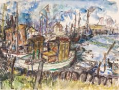 Heinz Mutterlose (1927 - Schkeuditz - 1995)Boote im Hafen.Aquarell, Gouache. 1978. 420 x 555 mm. U.
