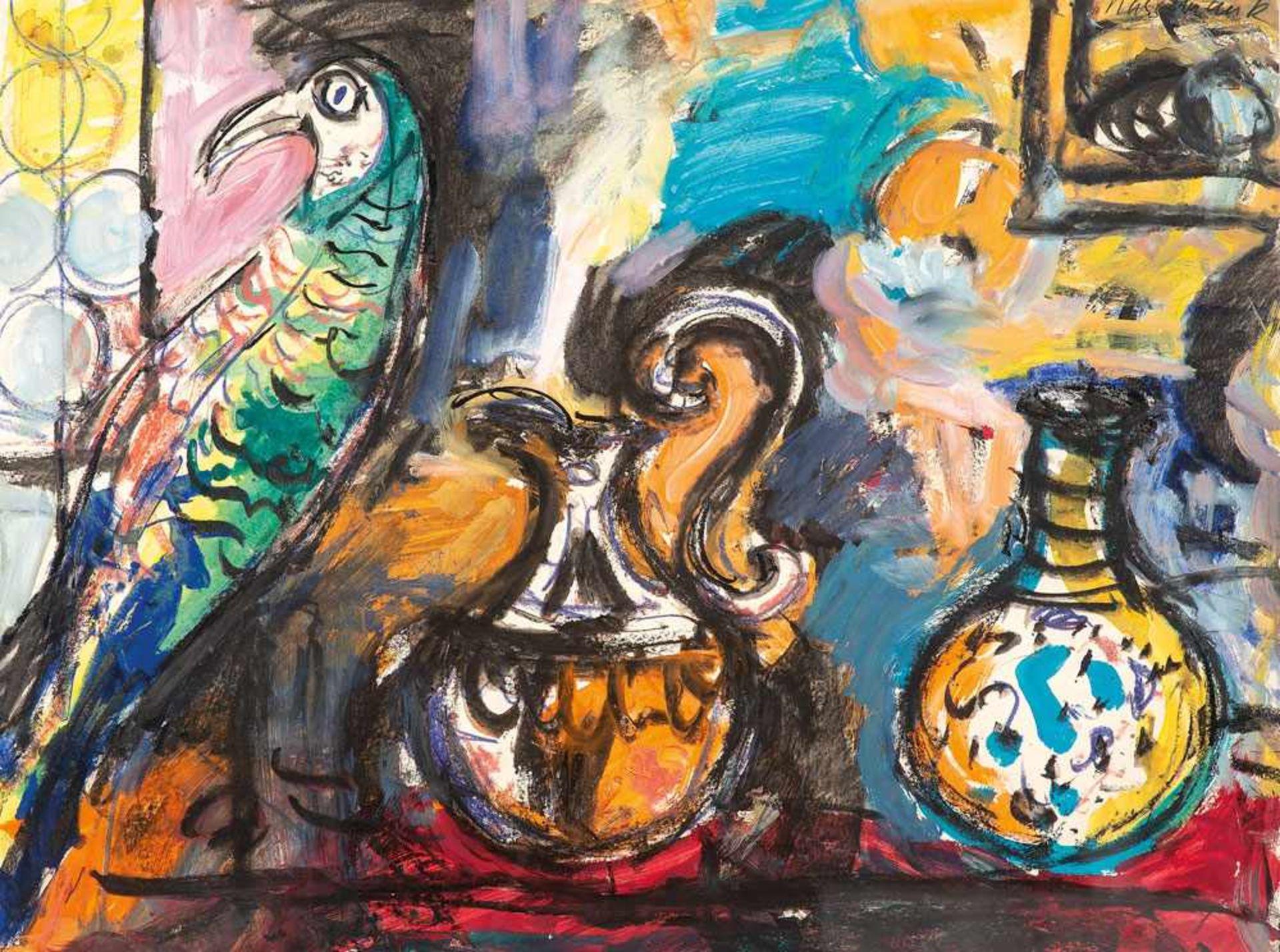 Ernst Hassebrauk (1905 - Dresden - 1974) Stillleben mit Papagei. Mischtechnik. 1960. 550 x 700 mm.