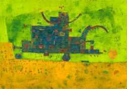 Jürgen Gustav Haase (1947 Oderberg/Mark - 2013 Berlin)Strohmaschine.Öl auf Leinwand. 2002. 700 x