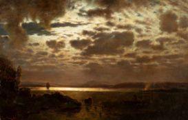 Louis Douzette (1834 Tribsees - 1924 Barth)Segler bei Vollmond.Öl auf Leinwand auf Hartfaser