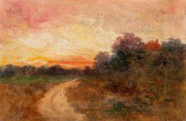 Franz Bunke (1857 Schwaan - 1939 Oberweimar)Sommerabend.Öl auf Malkarton. Vor 1900. 140 x 230 mm. U.