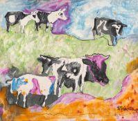 Edmund Kesting (1892 Dresden - 1970 Birkenwerder b. Berlin)Kühe am Bodden.Mischtechnik auf