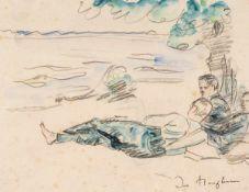 Ivo Hauptmann (1886 Erkner - 1973 Hamburg)Am Strand.Aquarell und Bleistift. Um 1950. 225 x 284 mm.