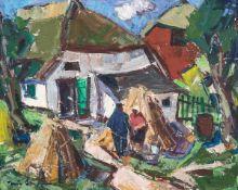 Tom Beyer (1907 Münster - 1981 Stralsund)Dorfidyll.Öl auf Malkarton. 1950er Jahre. 410 x 510 mm.