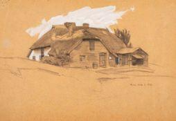 Lyonel Feininger (1871 - New York - 1956)Bauernhaus (Rügen).Bleistift, weiß gehöht. 1903. 166 x
