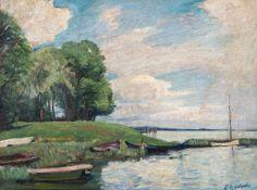 Hans Otto Gehrcke (1896 Langelsheim - 1988 Ferch bei Potsdam)Am Schwielowsee.Öl auf Leinwand. 1920er