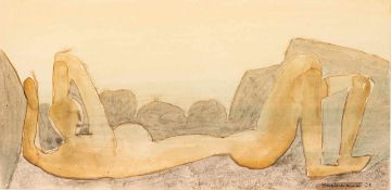 Hermann Bachmann (1922 Halle - 1995 Karlsruhe)Liegende.Aquarell auf Papier. 1955. 483 x 524 mm. U.