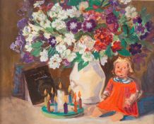 Dora Koch-Stetter (1881 Bayreuth - 1968 Althagen-Ahrenshoop)Stillleben mit Puppe.Mischtechnik. Um