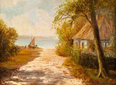 Elisabeth Büchsel (1867 - Stralsund - 1957)Weg zum Boddenstrand mit Netzboot.Öl auf Leinwand auf
