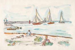 Ivo Hauptmann (1886 Erkner - 1973 Hamburg)Strand mit Segelbooten.Aquarell und Bleistift. 1960er