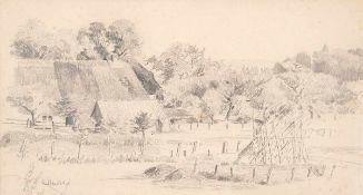 Elisabeth Andrae (1876 Leipzig - 1945 Dresden)Darßer Gehöft.Bleistiftzeichnung. Um 1906. 230 x 400
