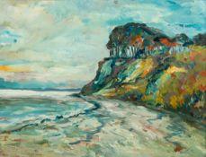 Bruno Gimpel (1886 Rostock - 1943 Niederpoyritz b. Dresden)Steilküste.Öl auf Malplatte. 1920er