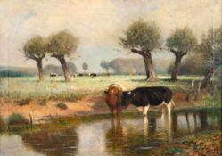 Fritz Grebe (1850 Heisebeck - 1924 Düsseldorf)Weidelandschaft.Öl auf Leinwand. Um 1900. 510 x 710