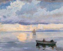 Richard Eschke (1859 Berlin - 1944 Jüterborg)Überfahrt.Öl auf Leinwand auf Karton kaschiert. 1920.